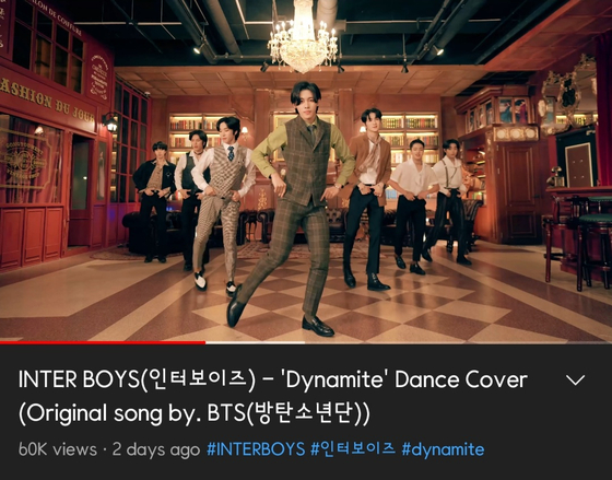 """Inter Boys' cover video of boy band BTS's megahit """"Dynamite"""" (2020) [SCREEN CAPTURE]"""