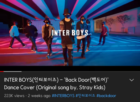 """Inter Boys' cover video of """"Back Door"""" (2020), originally a song by boy band Stray Kids [SCREEN CAPTURE]"""