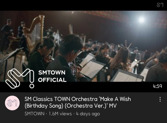 """An orchestral version of boy band NCT U's 2020 song """"Make A Wish"""" (Birthday Song)"""" garnered 1.6 million views within four days of its release. [SCREEN CAPTURE]"""