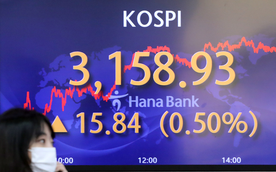 A screen in Hana Bank's trading room in central Seoul shows the Kospi closing at 3,158.93 points on Wednesday, up 15.84 points, or 0.5 percent, from the previous trading day. [YONHAP]