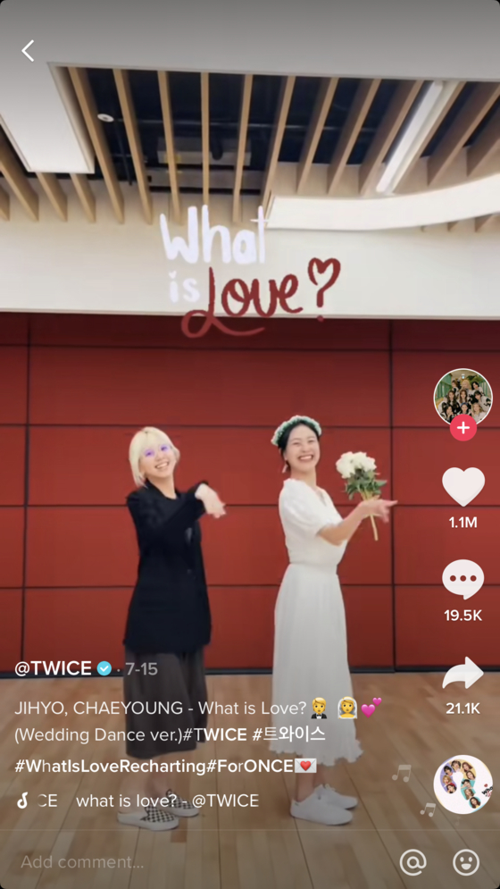 Twice recently started a TikTok dance challenge for its 2018 hit song ″What is Love.″ [SCREEN CAPTURE]