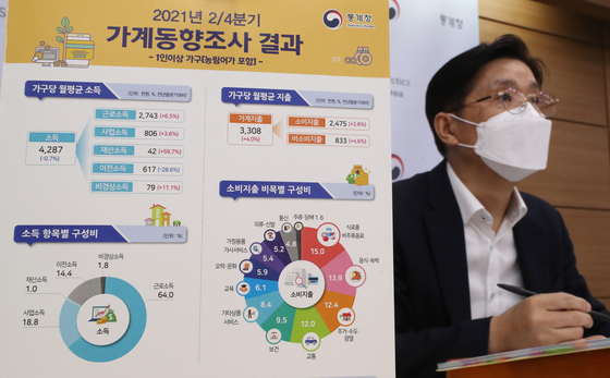 Chung Dong-myung, a Statistics Korea official, discusses second-quarter household income and spending at the government complex in Sejong on Thursday. [YONHAP]