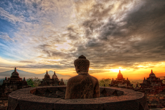 The temple compounds during a sunset [BOROBUDUR PARK MANAGEMENT]