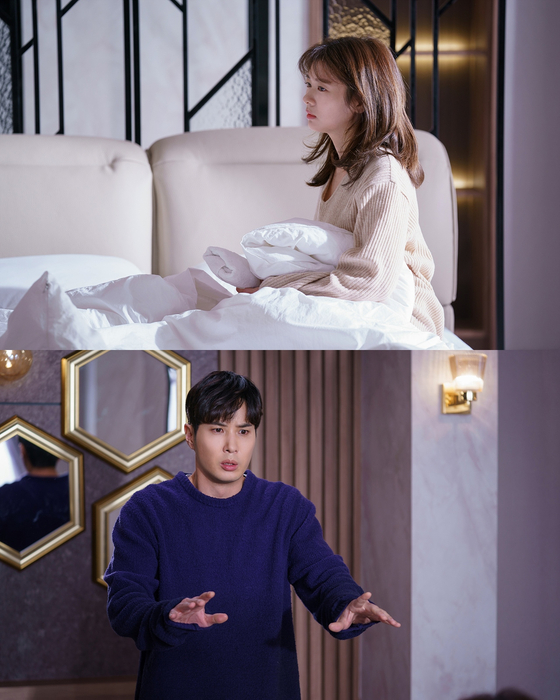 """Scenes from the series """"Monthly Magazine Home."""" Actor Jung So-min, top, plays a character learning how to save her money to buy a home. In the process, she also ends up falling for her boss, above (portrayed by actor Kim Ji-seok). [JTBC]"""