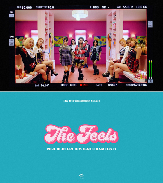 A captured image from the trailer video of girl group Twice's first-ever English song set to drop on Oct. 1. [SCREEN CAPTURE]