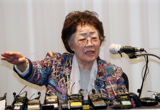 In this file photo from May 25, 2020, Lee Yong-soo, a former comfort women, speaks at a press conference in Daegu. [YONHAP]