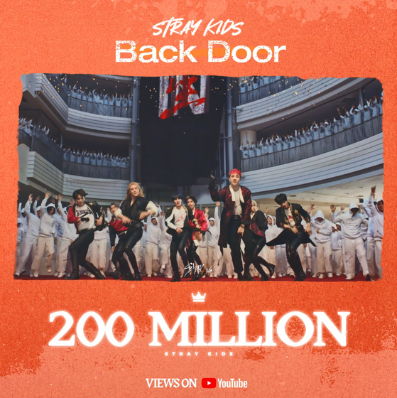 The music video for Stray Kids' ″Back Door″ hit 200 million views on YouTube. [JYP ENTERTAINMENT]
