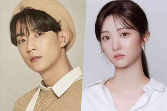 B1A4 Gongchan, left, and actor Nam Kyu-hee [ILGAN SPORTS]