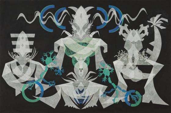 """Telepathy-Powered Soul Sheets Abreast – Mesmerizing Mesh #37"" (2021) by artist Haegue Yang. [KUKJE GALLERY]"