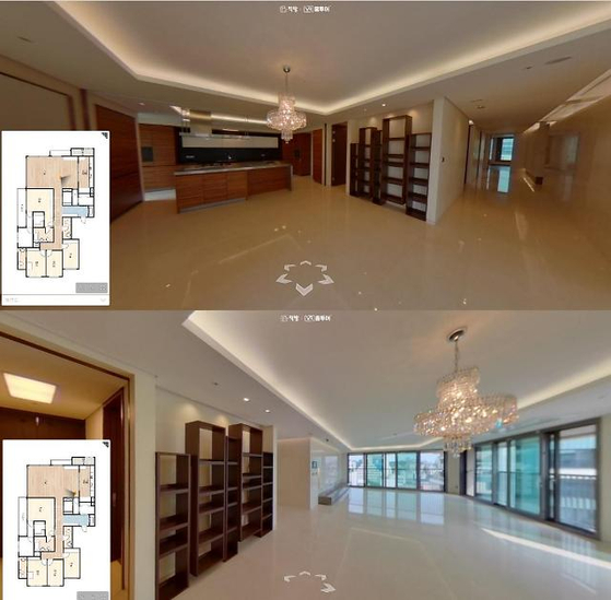 Virtual reality visuals of an apartment for rent displayed on the Zigbang app [ZIGBANG]