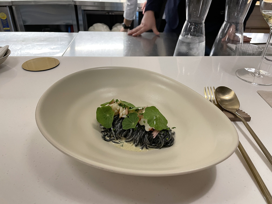 Squid ink pasta with shrimp at Evidence Seoul [LEE SUN-MIN]