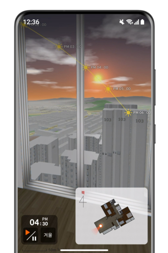 3-D visuals of an apartment on the Zigbang app, which also shows the amount of sunlight coming in through the windows at selected hours [ZIGBANG]