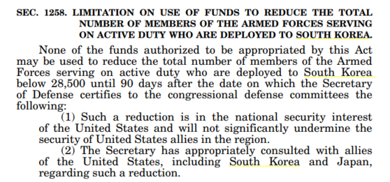 Clause in the National Defense Authorization Act 2021 about limitations on the use of funds appropriated by the act to reduce U.S. forces in Korea. [SCREEN CAPTURE]