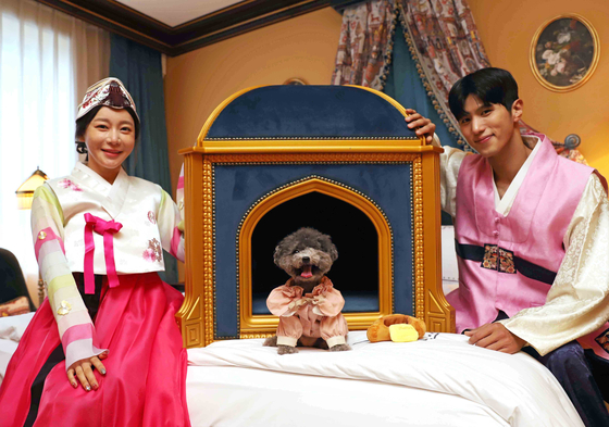 A dog sits in front of L'Escape's pet suite, a luxury dog house worth 4.2 million won ($3,600). The pet suite is part of Shinsegae Department Store's Chuseok gift set lineup and can be purchased online at SSG.com starting Friday. [SHINSEGAE DEPARTMENT STORE]
