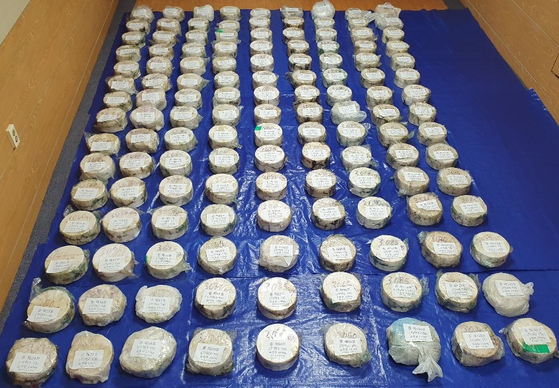 The 404.23 kilograms (891.2 pounds) of methamphetamine smuggled into Korea from Mexico, seized recently by the prosecutors in Busan [BUSAN DISTRICT PROSECUTORS' OFFICE]
