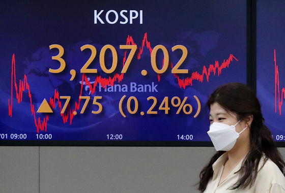 A screen in Hana Bank's trading room in central Seoul shows the Kospi closing at 3,207.02 points on Wednesday, up 7.75 points, or 0.24 percent, from the previous trading day. [NEWS1]