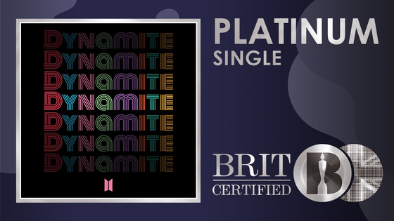 The British Phonographic Industry certified boy band BTS's ″Dynamite″ (2020) platinum on Saturday. [THE BRIT AWARDS]
