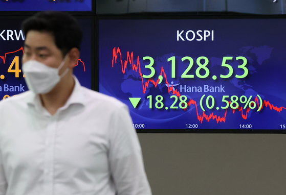 A screen in Hana Bank's trading room in central Seoul shows the Kospi closing at 3,175.85 points on Thursday, down 31.17 points, or 0.97 percent, from the previous trading day. [YONHAP]
