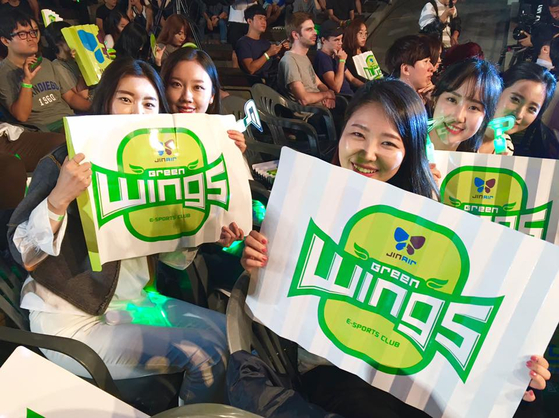 Flight attendants from Jin Air visit the finals to watch their company's StarCraft 2 team play. [JIN AIR GREENWINGS]