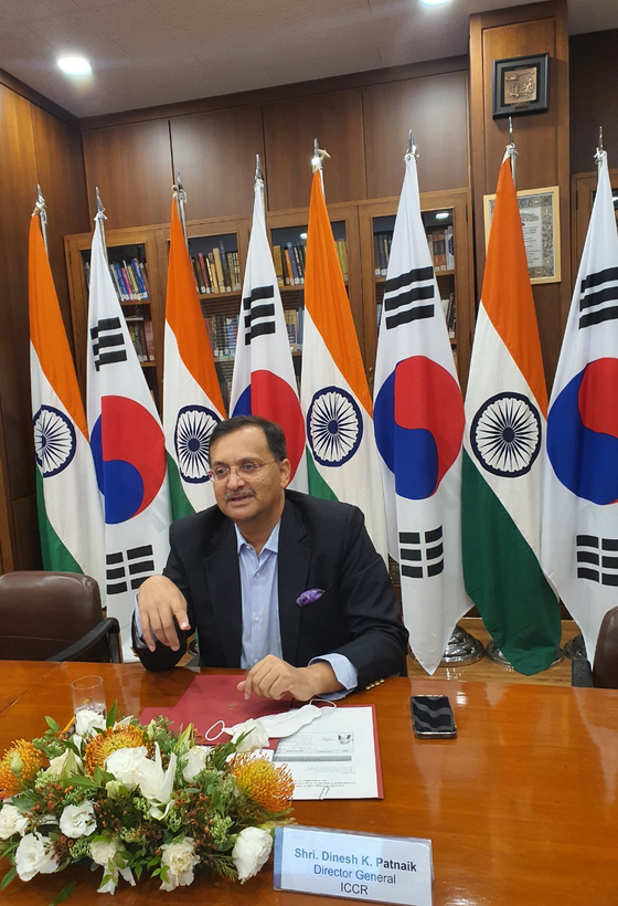 Director-General Dinesh K. Patnaik of the Indian Council for Cultural Relations speaks with the Korea JoongAng Daily at the Embassy of India in Seoul on Thursday. [EMBASSY OF INDIA IN KOREA]