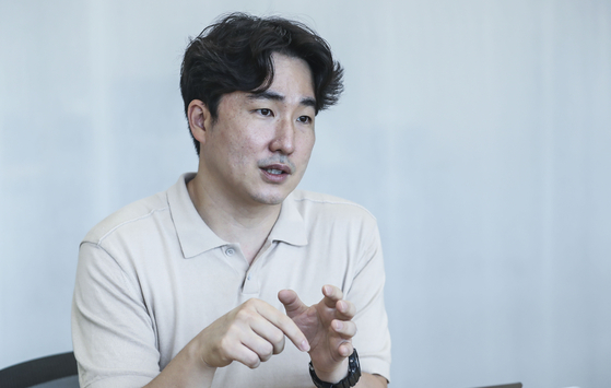 Kim speaks about the app's future during an interview with the JoongAng Ilbo on Aug. 13. [KIM SEONG-RYONG]