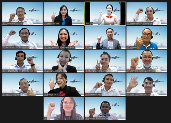 Airport officials from Thailand and Laos attending a video conference as part of an education program on security system management conducted by Incheon International Airport. The program was held between Aug. 30 and Sept. 3. [INCHEON INTERNATONAL AIRPORT]