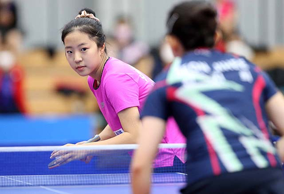 Shin Yu-bin faces Jeon Ji-hee in the round of eight at the 2021 Corporate Fall Presidential Cup on Thursday morning at Inje Stadium in Inje, Gangwon.