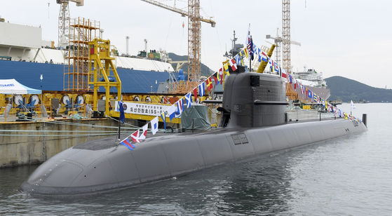 A Daewoo Shipbuilding & Marine Engineering submarine at the company's Okpo Shipyard in Geoje, South Gyeongsang, in August. [DSME]