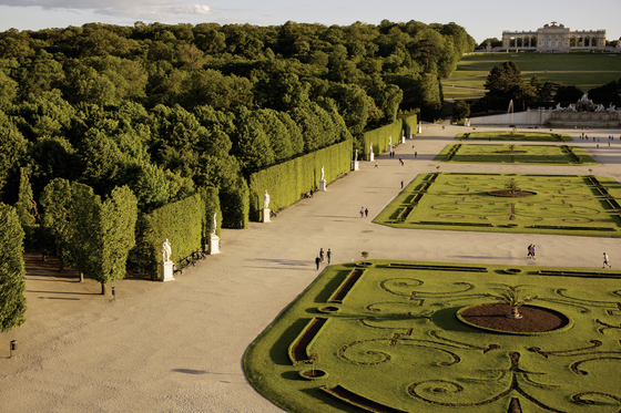 The Schonbrunn Palace grounds, showing the Gloriette situated afar. [WIENTOURISMUS/PETER RIGAUD]