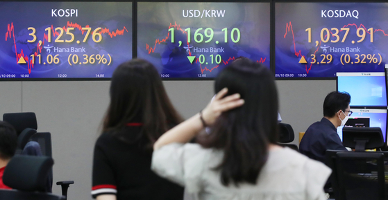 A dealing room at Hana Bank in Seoul on Friday shows the Kospi closing the week 11.06 points or 0.36 percent higher at 3,125.76. The FSC said to encourage more people to participate in the stock market, it is changing the regulation to allow investors to purchase local stocks in fractions. [YONHAP]