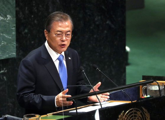 President Moon Jae-in speaks at the United Nations General Assembly in New York on Sept. 25, 2019. He will depart on a five-day trip to the United States Sunday and deliver a keynote address to the UN General Assembly next week for the fifth consecutive year. [YONHAP]