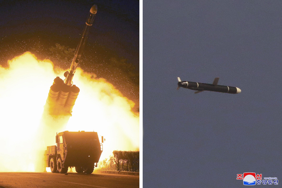 Photos released on Monday by the North's Korea Central News Agency show new cruise missiles being fired from a transporter erector launcher and in flight during weekend tests. [KCNA]