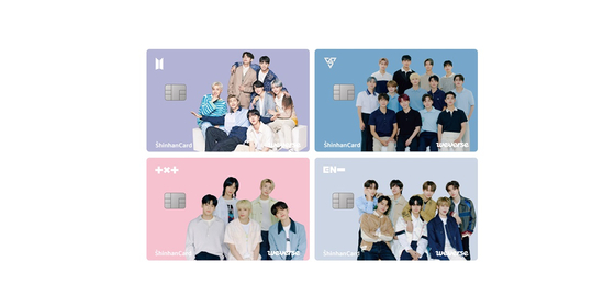 Weverse Company and Shinhan Card launched the Weverse Card, featuring boy bands BTS, Seventeen, Tomorrow X Together and Enhypen. [HYBE]