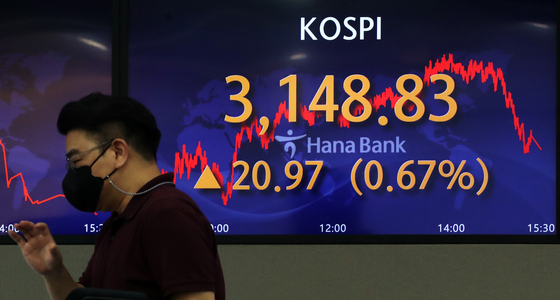 A screen in Hana Bank's trading room in central Seoul shows the Kospi closing at 3,148.83 points on Tuesday, up 20.97 points, or 0.67 percent, from the previous trading day. [NEWS1]