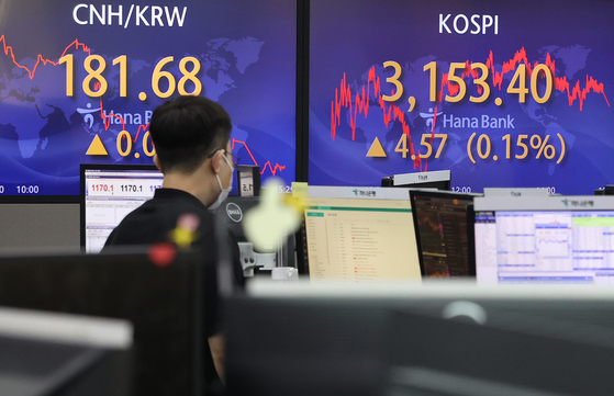 A screen in Hana Bank's trading room in central Seoul shows the Kospi closing at 3,153.40 points on Wednesday, up 4.57 points, or 0.15 percent, from the previous trading day. [YONHAP]