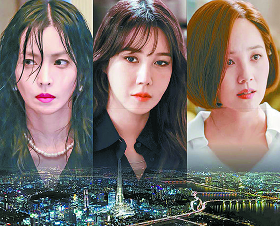 SBS's ″Penthouse″ follows elite families that fiercely compete over real estate and education, with a provocative and speedy plot and remarkable acting from the cast. [JOONGANG ILBO]