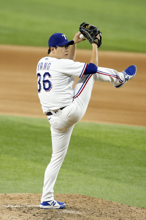 Yang Hyeon-jong pitches for the Texas Rangers in the seventh inning of a game against the Houston Astros at Globe Life Field in Arlington, Texas on Monday. [USA TODAY/YONHAP]