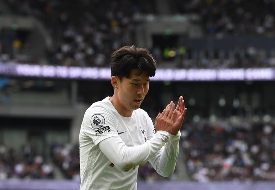 Son Heung-Min of Tottenham reacts during an English Premier League match between Tottenham Hotspur and Watford in London on Aug. 29.  [EPA/YONHAP]