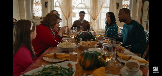 """A 2015 skit titled """"A Thanksgiving Miracle"""" from American comedy show """"Saturday Night Live,"""" which shows relatives clash over various topics during a Thanksgiving family reunion. [SCREEN CAPTURE]"""