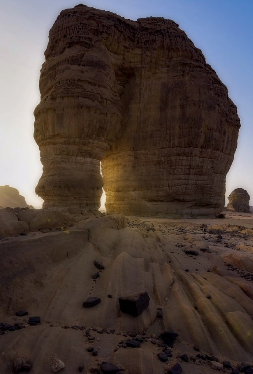 Famous for desert sports and mountain climbing, Elephant Rock was formed by wind erosion over millennia. [EMBASSY OF THE KINGDOM OF SAUDI ARABIA]