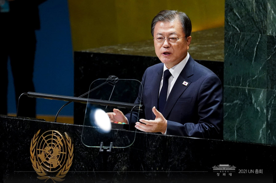 South Korean President Moon Jae-in addresses the 76th UN General Assembly at the United Nations headquartered in New York Tuesday. [BLUE HOUSE]