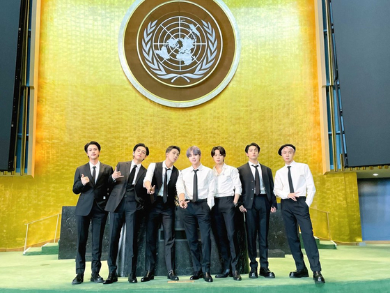 BTS poses for a photo at the U.N. General Assembly Hall in New York on Monday as special presidential envoys for future generations and culture. [BTS TWITTER]