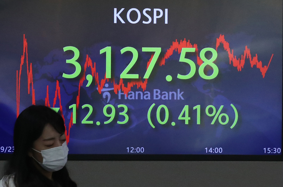 A screen in the Hana Bank's trading room in central Seoul shows the Kospi closing at 3,127.58 points on Thursday, down 12,93 points, or 0.41 percent, from the previous trading day. [NEWS1]
