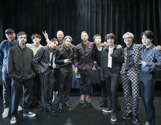 BTS and Coldplay met up in New York on Thursday, a day before the release of their single ″My Universe″ on Friday. [BTS TWITTER]
