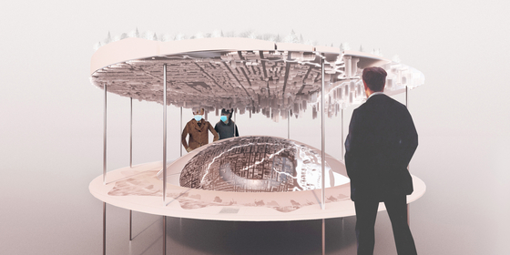"""""""Beneath the City: Rivers"""" by Gambjts has viewers focus on a mirrored half-sphere that reflects an upside-down city. It sheds light on the hidden waterways of Toronto, and proposes their excavation and embankment to commit to establishing resilient urbanism. [SEOUL BIENNALE OF ARCHITECTURE AND URBANISM]"""