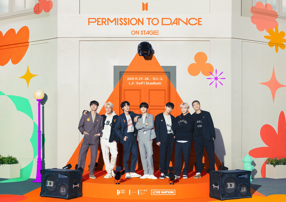 A poster for boy band BTS's upcoming offline concert ″BTS Permission to Dance On Stage - LA″ [BIG HIT MUSIC]