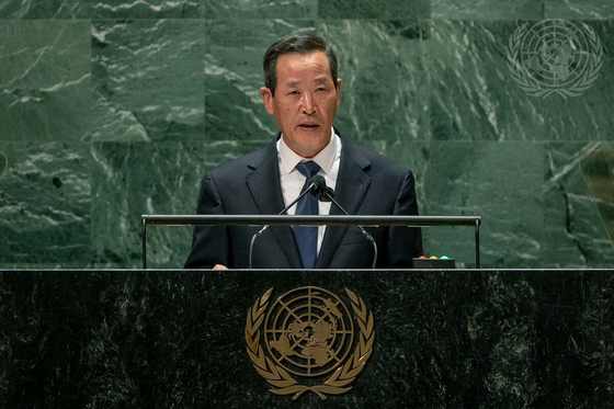 Kim Song, North Korea's ambassador to the United Nations, speaks during the 76th session of the UN General Assembly in New York Monday. [UNITED NATIONS]