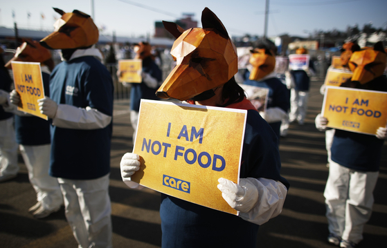 Animal-rights activists stage a protest against the consumption of dog meat near the Pyeongchang Olympic Stadium a few hours before the closing ceremony of the PyeongChang 2018 Olympic Games on Feb. 25, 2018. [EPA/DIEGO AZUBEL/YONHAP]