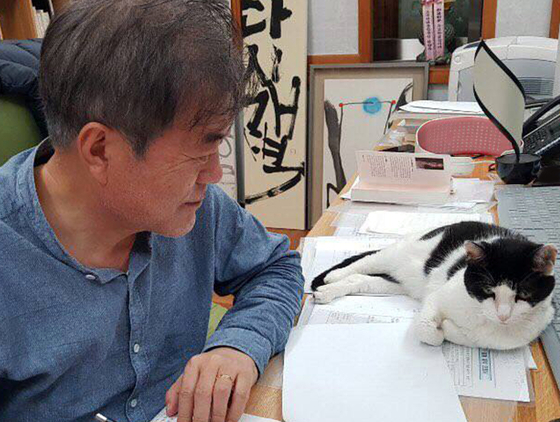 President Moon with his rescue cat at his home in February. [BLUE HOUSE]