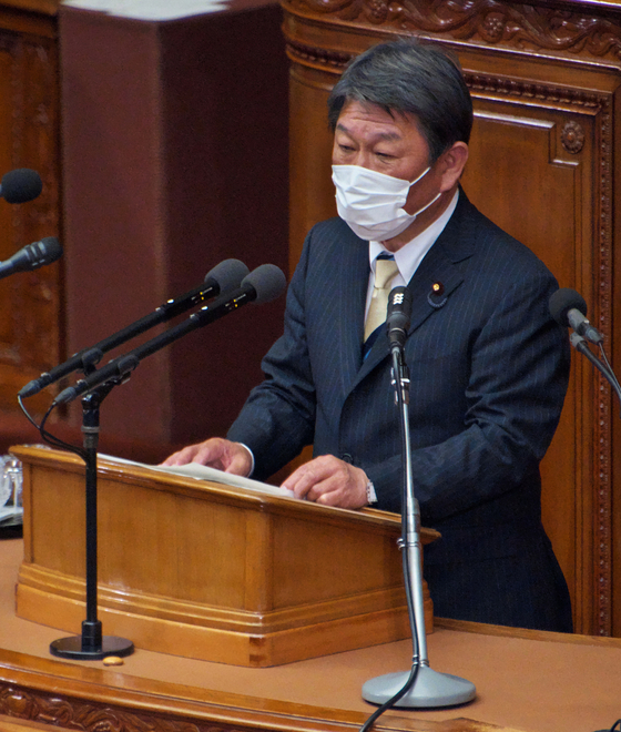 Japan's Foreign Minister Toshimitsu Motegi in this file photo dated Jan. 18 at the Lower House's plenary session of the 204th Ordinary Diet session at the National Diet in Tokyo. [KEIZO MORI/UPI/YONHAP]